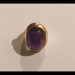 Jewelry - LARGE AMETHYST SILVER & 14k GOLD RING 6